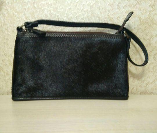 Натуральная кожа,мех!трендовая сумка бренда marks& Spencer,обнова