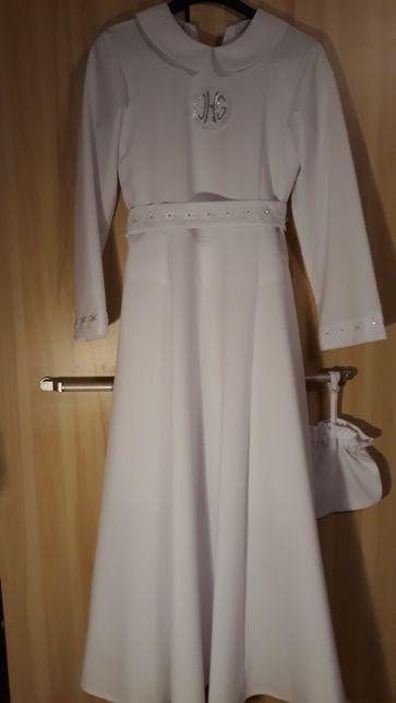 Sukienka alba dluga komunijna biała