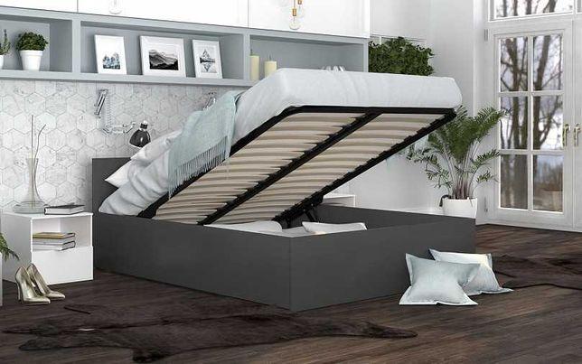 Łóżko sypialniane z pojemnikiem na pościel