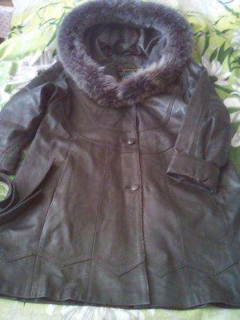 Пальто кожаное женское с капюшоном, полупальто, р.46-48,XL, длина 90см