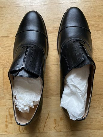 Buty skórzane męskie, czarne, ślubne, r. 43