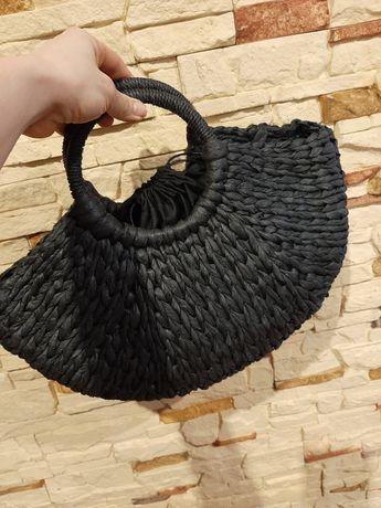 Torebka do ręki czarna słoma,pleciona, koszyk