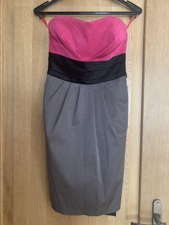 Różowo-szara sukienka bez ramiączek