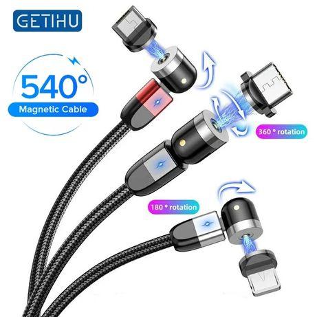 Магнитный USB-кабель с поворотом , Type-C 3A, светодиодный usb-кабель