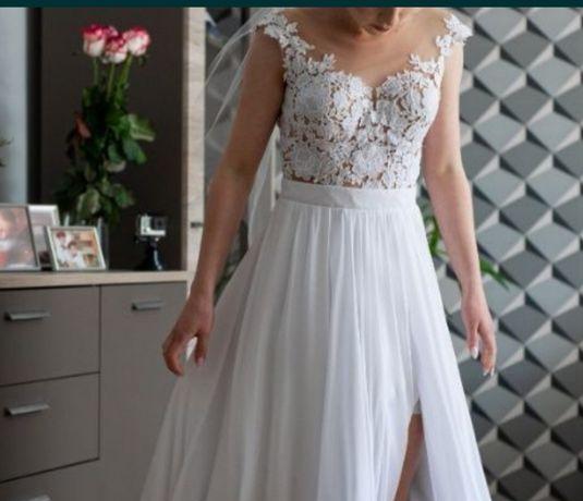 Suknia ślubna Selena Milla Nova 34 XS 160cm+9cm obcas koronka muślin