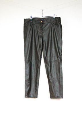 Brązowe spodnie skórzane ekoskóra proste 42 XL
