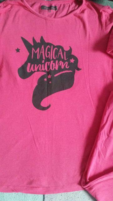 Bawełna piżama dziewczęca pink konie pony unicorn horse jednorożec