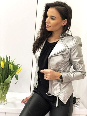 ramoneska kurtka srebrna Valentino S, M, L