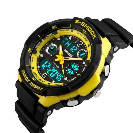 Zegarek SKMEI napis tylko S-SHOCK WODOODPORNY męski LED żółty