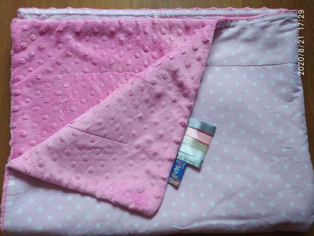 Kocyk Minky różowy duży