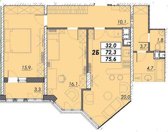 Продам двухкомнатную квартиру в Приморском районе, в городе Одесса.