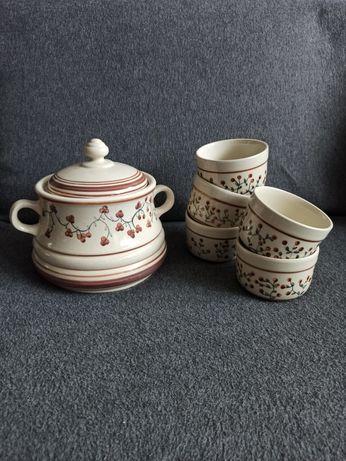 Bigośnica bolesławiec miski miseczki waza ceramika prl wolanin vintage