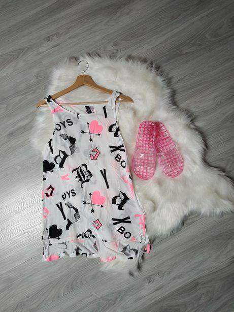H&M tunika damska sukienka mini bluzka bawełniana na plażę strój M-L