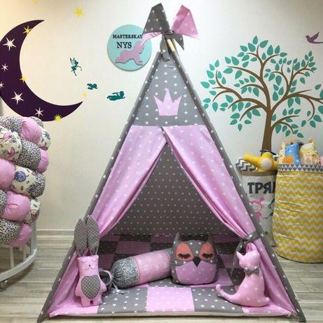 Цена с ковриком и подушкой. Вигвам в наличии. Палатка детская . Домик