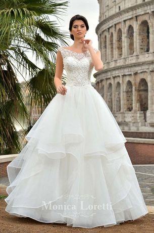 Piękna i wyjątkowa suknia ślubna asymetryczna monica loretti ermina