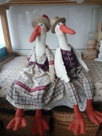 Парочка гусей, ручная работа, интерьерная игрушка, декор дома.