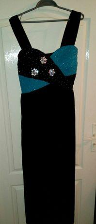 Sukienka wieczorowa maxi, czarna suknia długa na studniówkę, wesele
