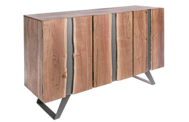 Aparador 3 PTAS Maciço Acácia Ferro Sideboard - by OVO Home Design