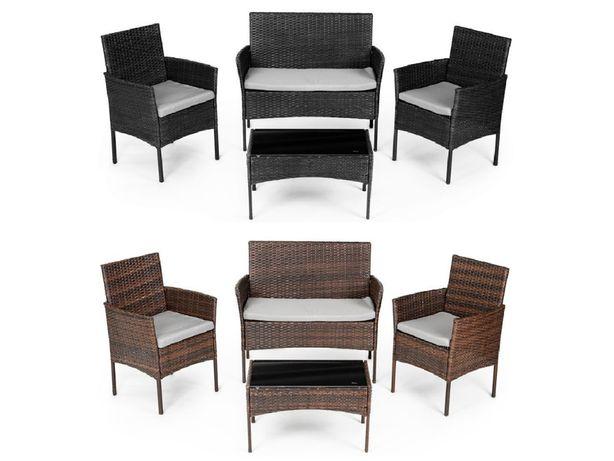 NOWE Meble Ogrodowe Rattan ZESTAW KAWOWY stół krzesła 2x ŁAWKA WYSYŁKA