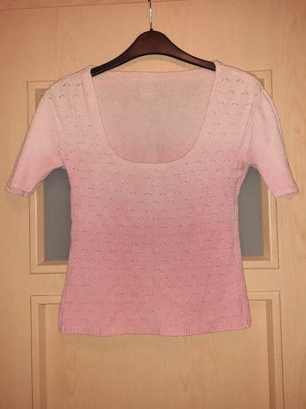 Bluzka różowa melanż sweterkowa z dekoltem S 19 zł