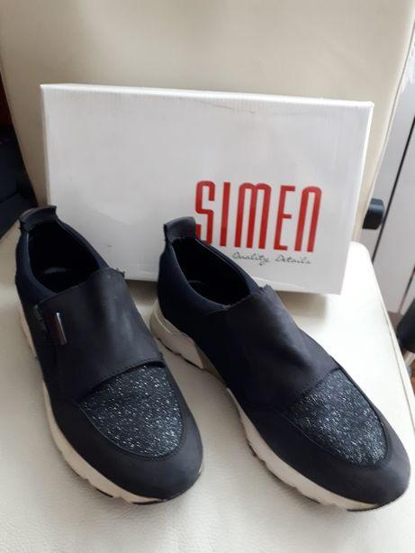 Damskie, skórzane buty firmy Simen, rozmiar 40