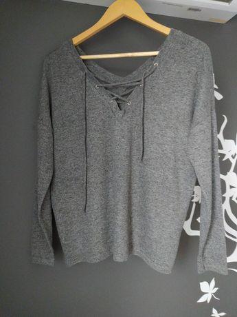Sweter wiązany only 38 M szary dekolt V