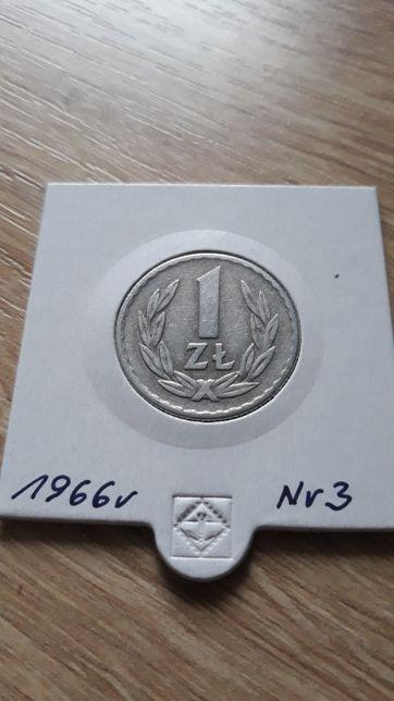 1 złoty 1966 r- PRL-Aluminium-nr 3-Super stan