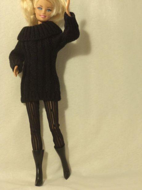 Ubranka dla lalki barbie - czarny sweterek, rajstopy, kozaczki !!!