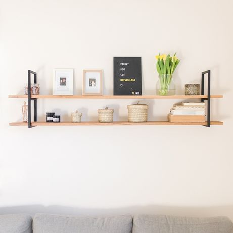 #P1 - Półka drewniana na ścianę | regał dąb metal industrial loft