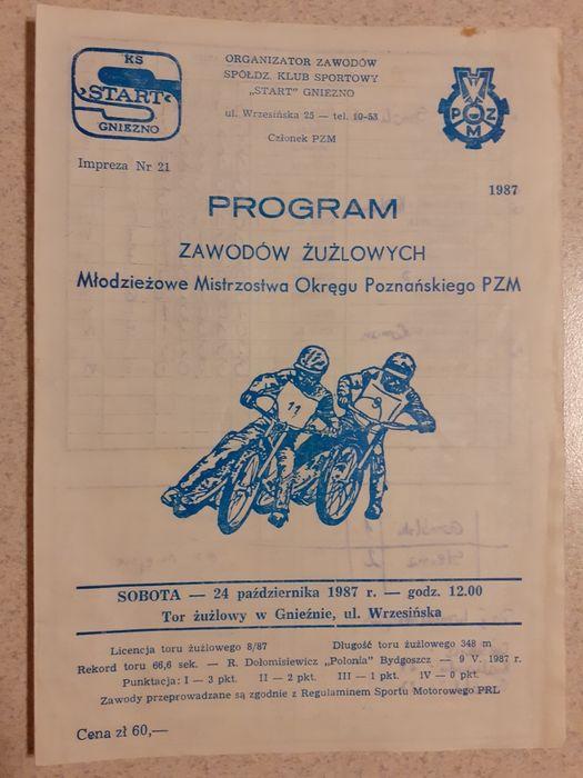 Program żużlowy Młodzieżowe Mistrzostwa Okręgu Poznańskiego PZM 1987r. Gniezno - image 1