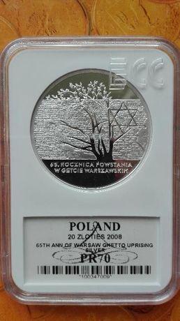 """20zł. 2008r. """"65.roczn. Powstania w Getcie Warszawskim"""" GRADING PR 70."""