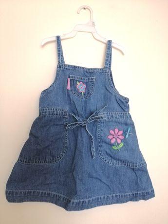 Sukienka jeansowa kwiaty haftowane 2 lata playskool