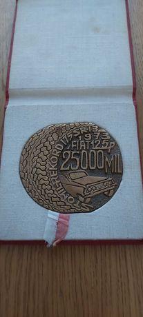 Medal z bicia Recordu Fiat 125p 25000mil Stomil-record