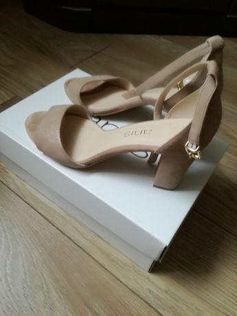 Sandałki skóra 39 beżowe