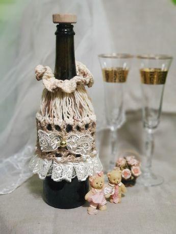 Свадебные аксессуары. Чехол для шампанского.