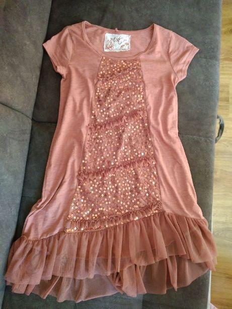 Tunika/sukienka XS (158) z cekinami i tiulową falbaną