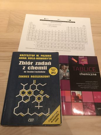 Zbiór zadań z chemii Pazdro, tablice chemiczne