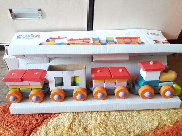 деревянный поезд cubika
