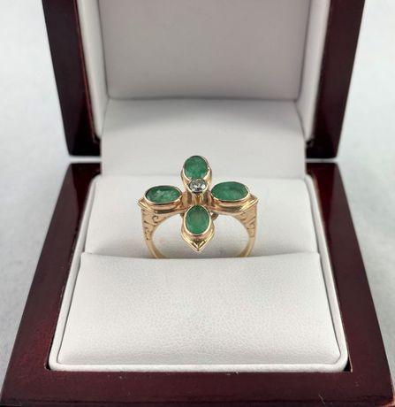 Unikatowy ZŁOTY pierścionek BRYLANT I SZMARAGDY PR. 585 (14K) r. 17