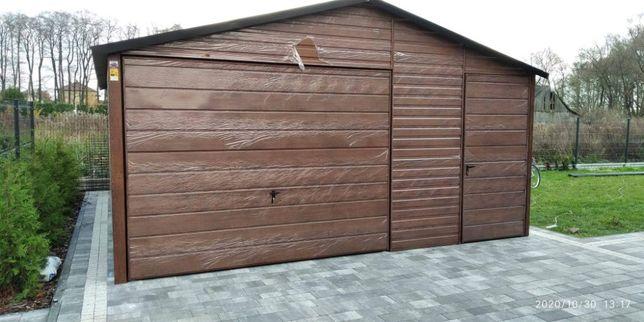 Garaż 5x6 drewnopodobny blaszany