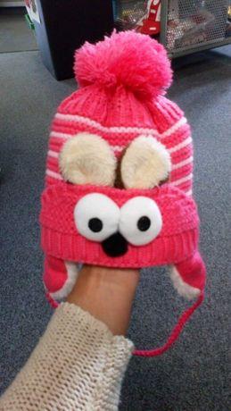 Prześliczna różowa czapka dla dziewczynki niemowlęca zimowa ciepła