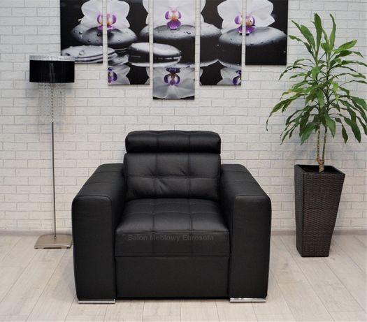 Czarny Skórzany Fotel z zagłówkiem Fotele ze skóry czarna skóra
