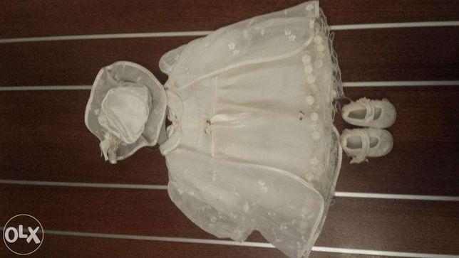 Sukienka, ubranko do chrztu dziewczynka sukienka płaszczyk kapelusik