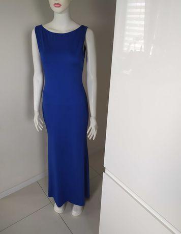 Długa suknia wieczorowa chabrowa niebieska elegancka