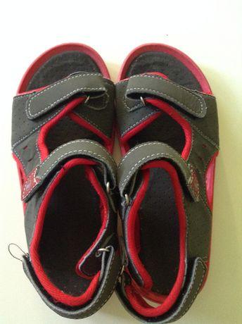 SANDAŁKI buty na lato sandały czerwone szare chłopięcie jak NOWE r. 33