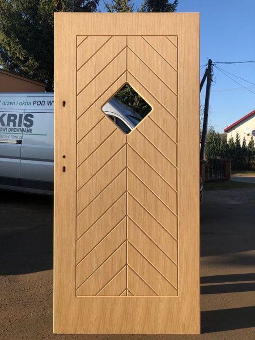 drzwi zewnętrzne drewniane ocieplane GR 75 frezowane karo rodzinka.pl Grzybno - image 1