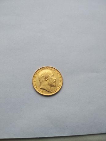 Moneta--1\2 Suwerena--1906--złoto--
