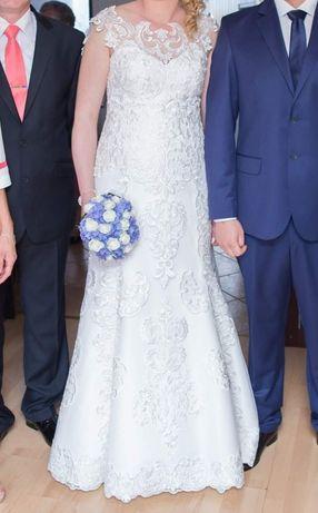 Suknia ślubna z gipiury 42 176cm plus obcas