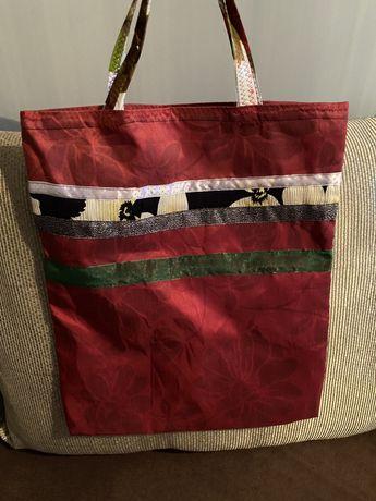 Czerwona torba torebka siatka bawełniana shopper vintage kwiaty retro
