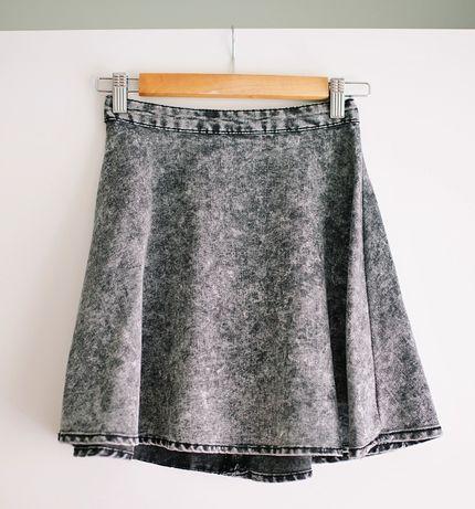 Jeansowa szara rozkloszowana spódniczka marmurek S